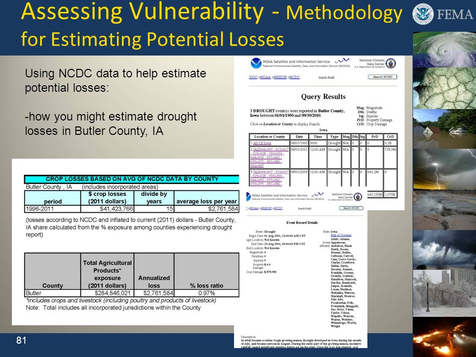 Assessing Vulnerability - Methodology for Estimating Potential Losses Using NCDC data to help estimate potential losses: -how you might estimate droug