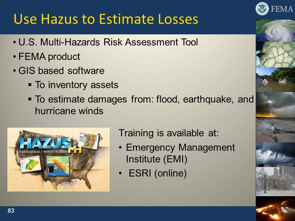 83 Use Hazus to Estimate Losses Training is available at: Emergency Management Institute (EMI) ESRI (online) U.S. Multi-Hazards Risk Assessment Tool F