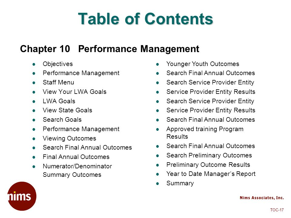 TOC-17 Table of Contents Objectives Performance Management Staff Menu View Your LWA Goals LWA Goals View State Goals Search Goals Performance Manageme