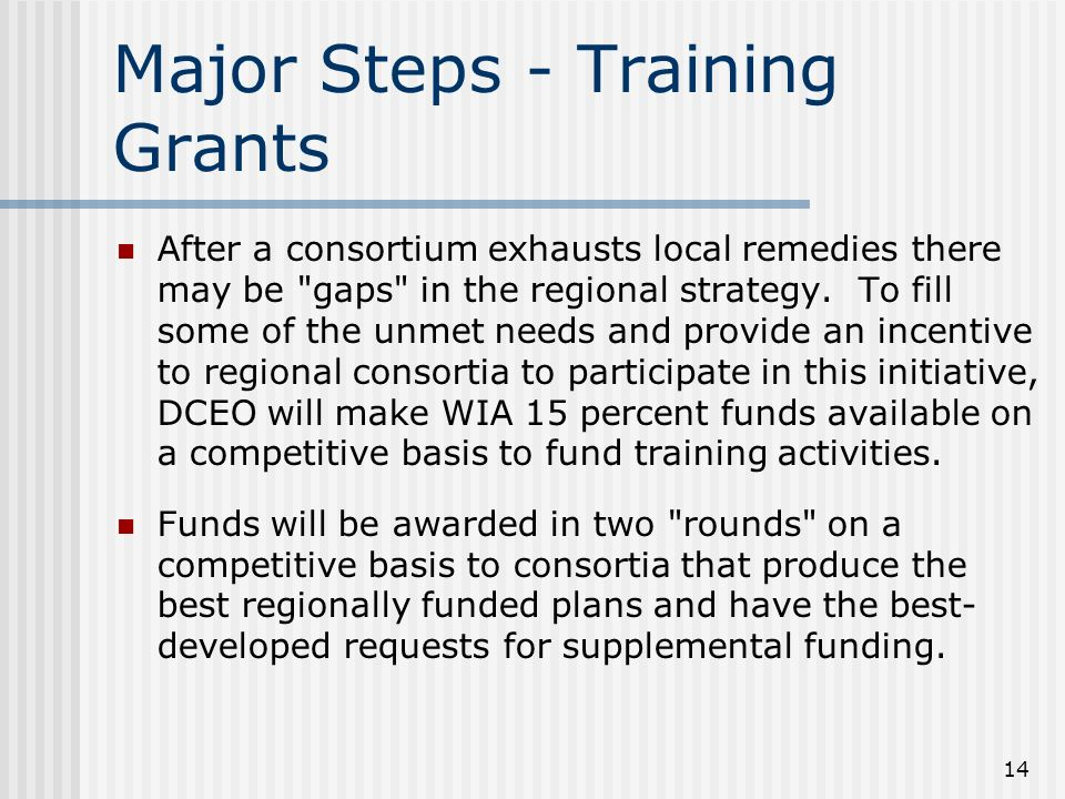14 Major Steps - Training Grants After a consortium exhausts local remedies there may be gaps in the regional strategy.