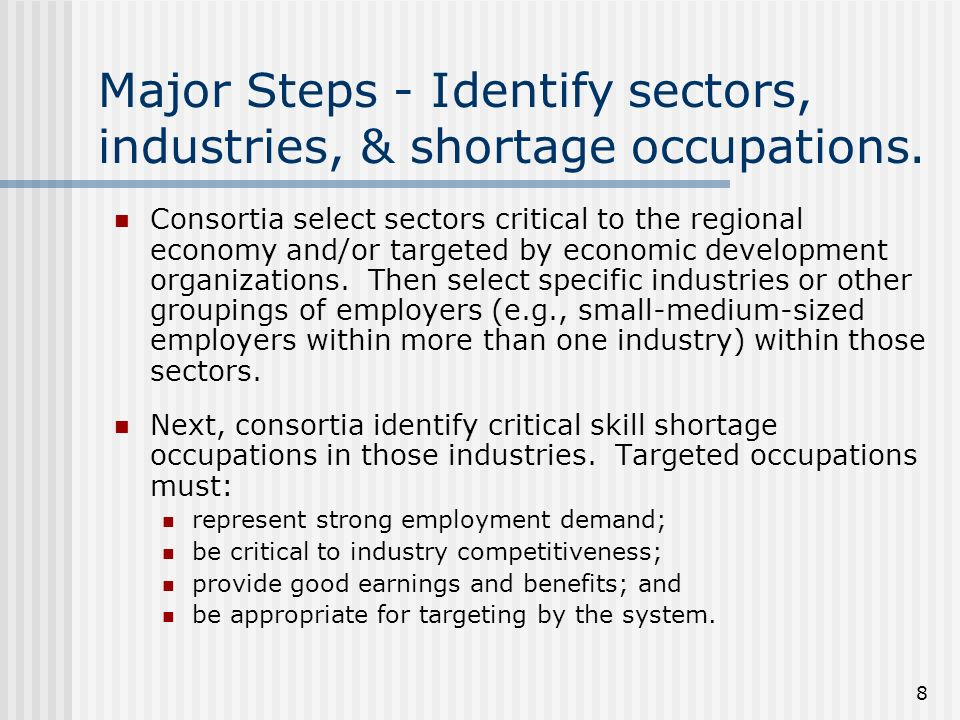 8 Major Steps - Identify sectors, industries, & shortage occupations.