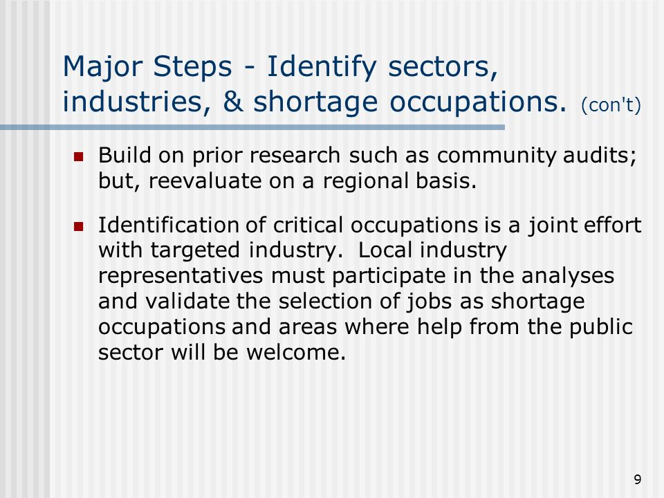 9 Major Steps - Identify sectors, industries, & shortage occupations.