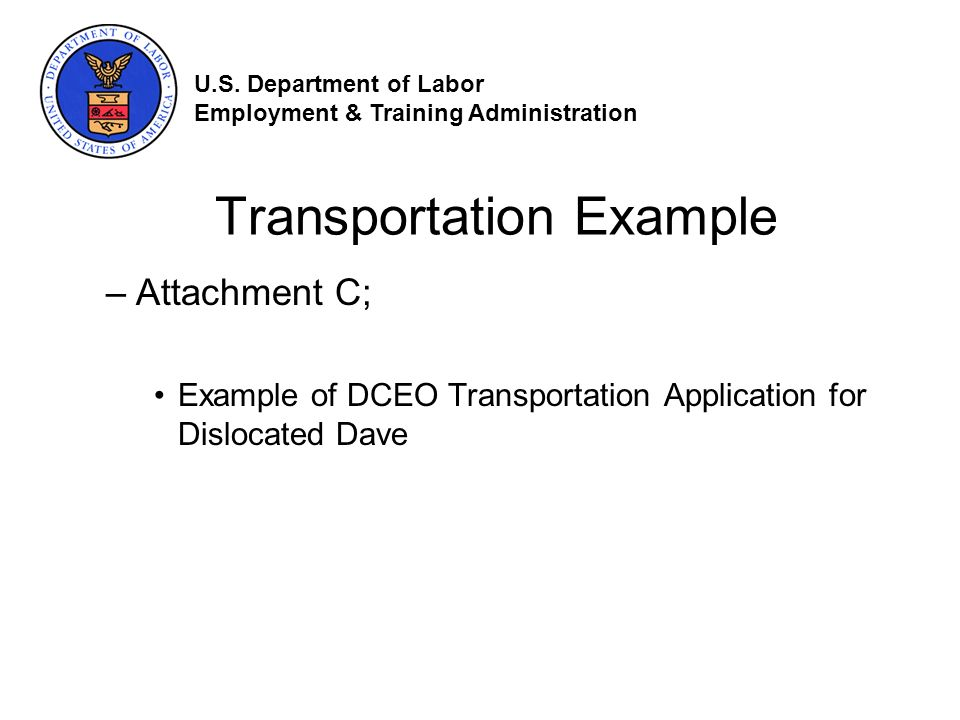 Transportation Example –Attachment C; Example of DCEO Transportation Application for Dislocated Dave U.S.