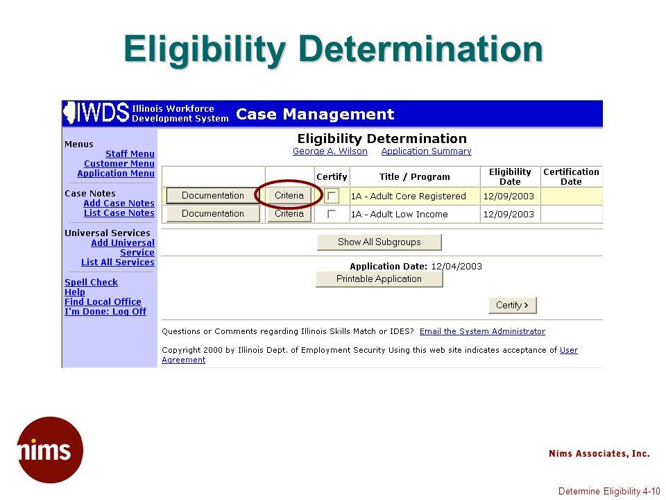 Determine Eligibility 4-10 Eligibility Determination