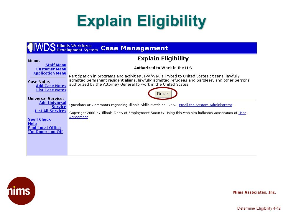 Determine Eligibility 4-12 Explain Eligibility