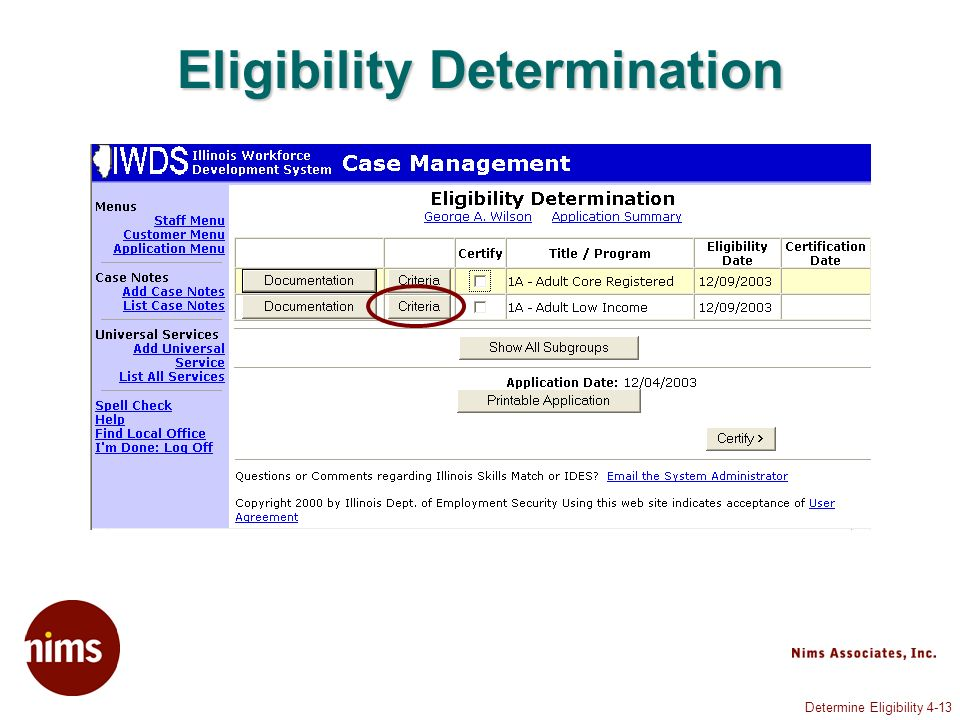Determine Eligibility 4-13 Eligibility Determination