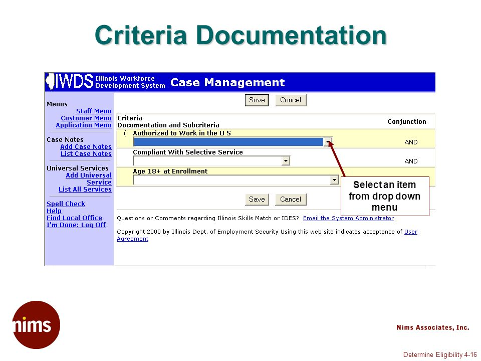 Determine Eligibility 4-16 Criteria Documentation Select an item from drop down menu