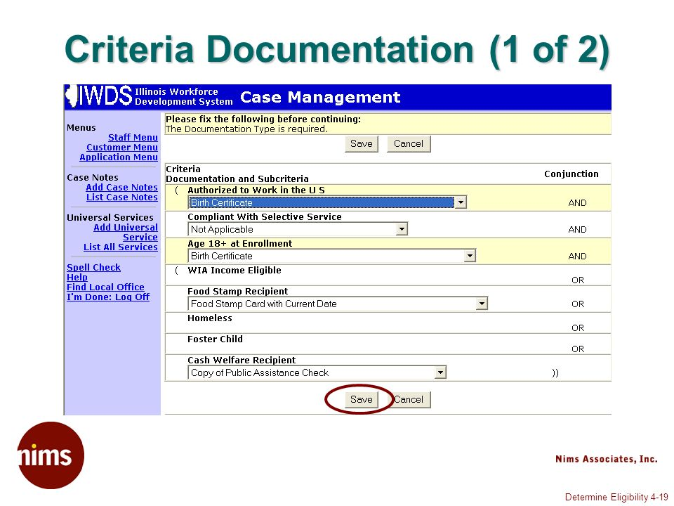 Determine Eligibility 4-19 Criteria Documentation (1 of 2)
