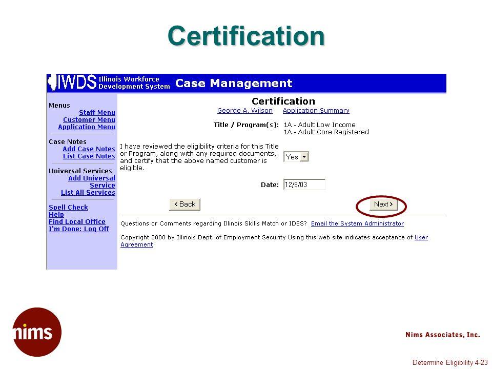 Determine Eligibility 4-23 Certification