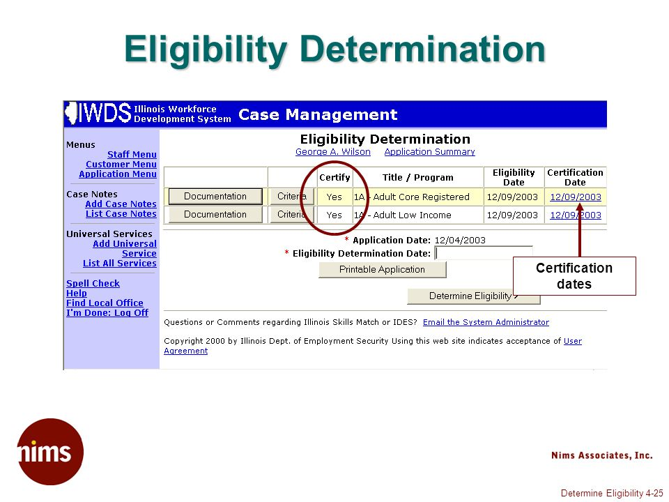 Determine Eligibility 4-25 Eligibility Determination Certification dates