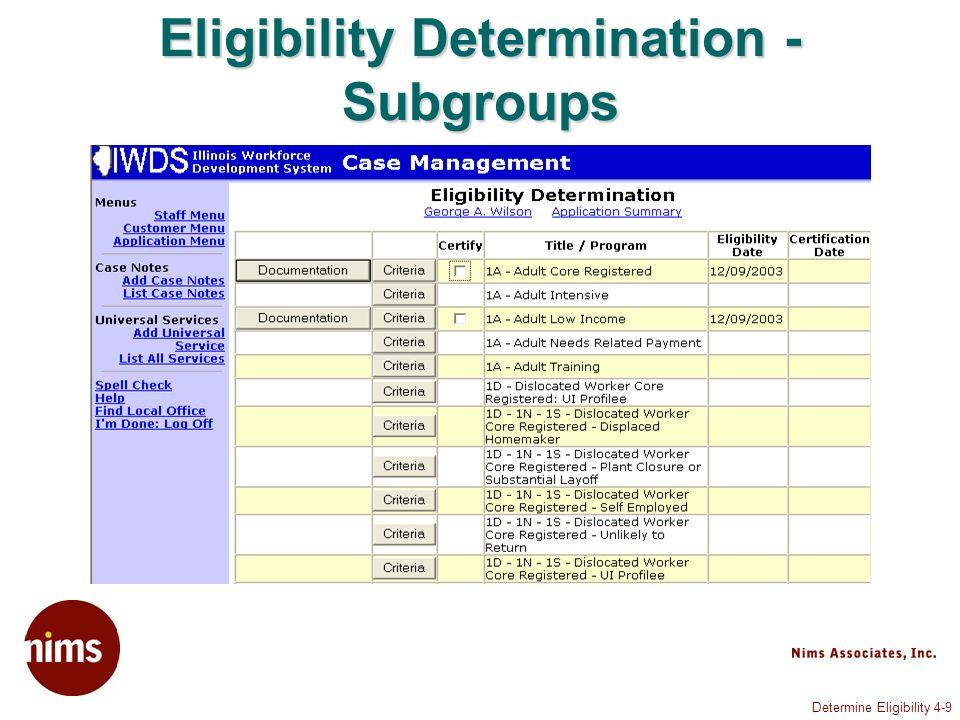 Determine Eligibility 4-9 Eligibility Determination - Subgroups
