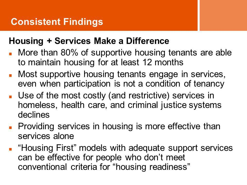 Housing + Services Make a Difference More than 80% of supportive housing tenants are able to maintain housing for at least 12 months Most supportive h