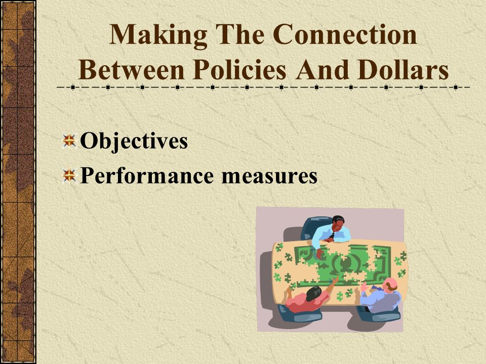 Making The Connection Between Policies And Dollars Objectives Performance measures