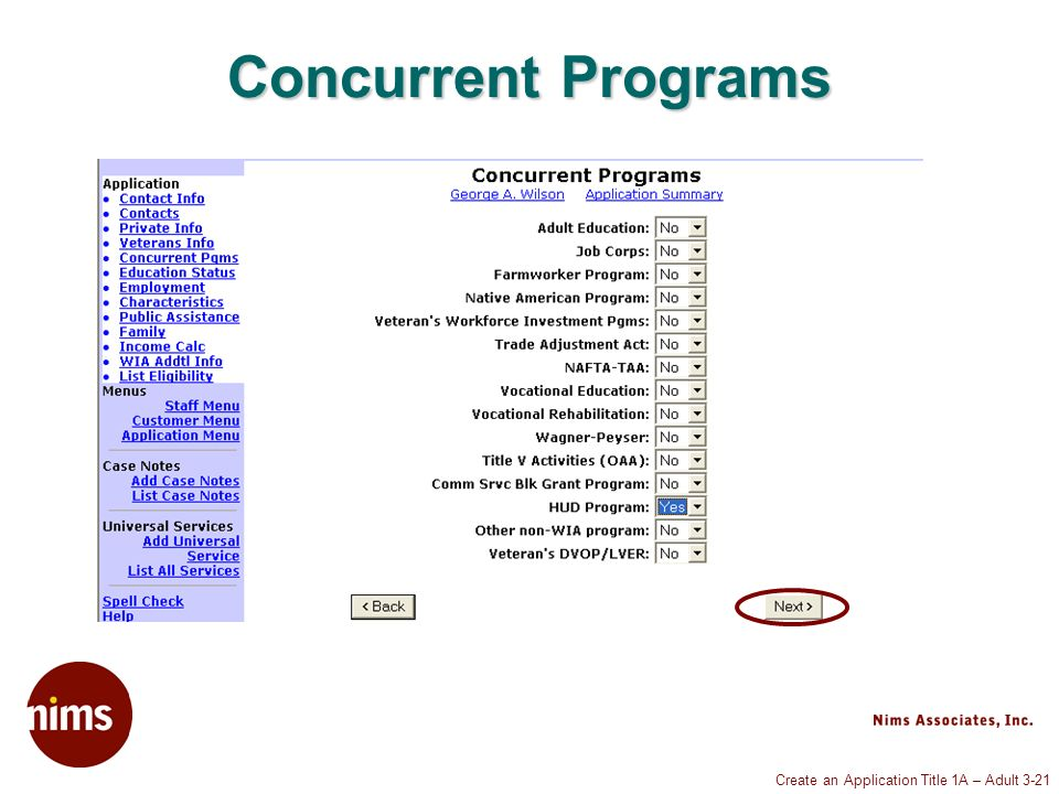 Create an Application Title 1A – Adult 3-21 Concurrent Programs