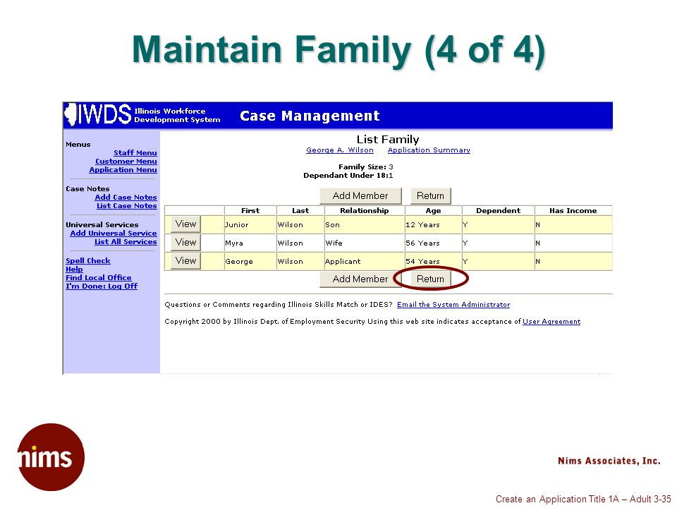 Create an Application Title 1A – Adult 3-35 Maintain Family (4 of 4)