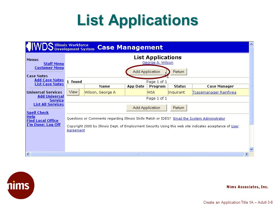Create an Application Title 1A – Adult 3-19 Private Information