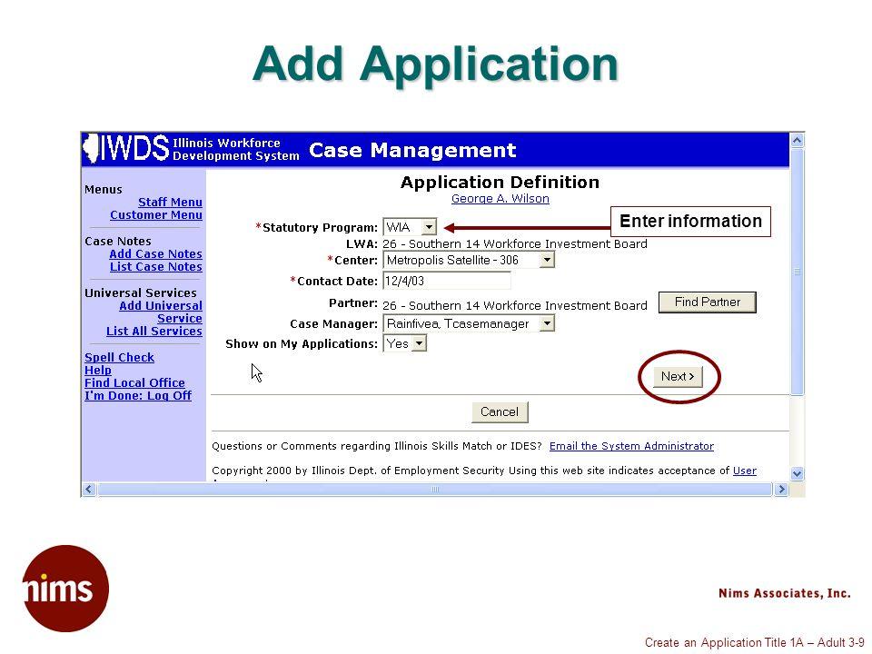 Create an Application Title 1A – Adult 3-20 Veterans Information