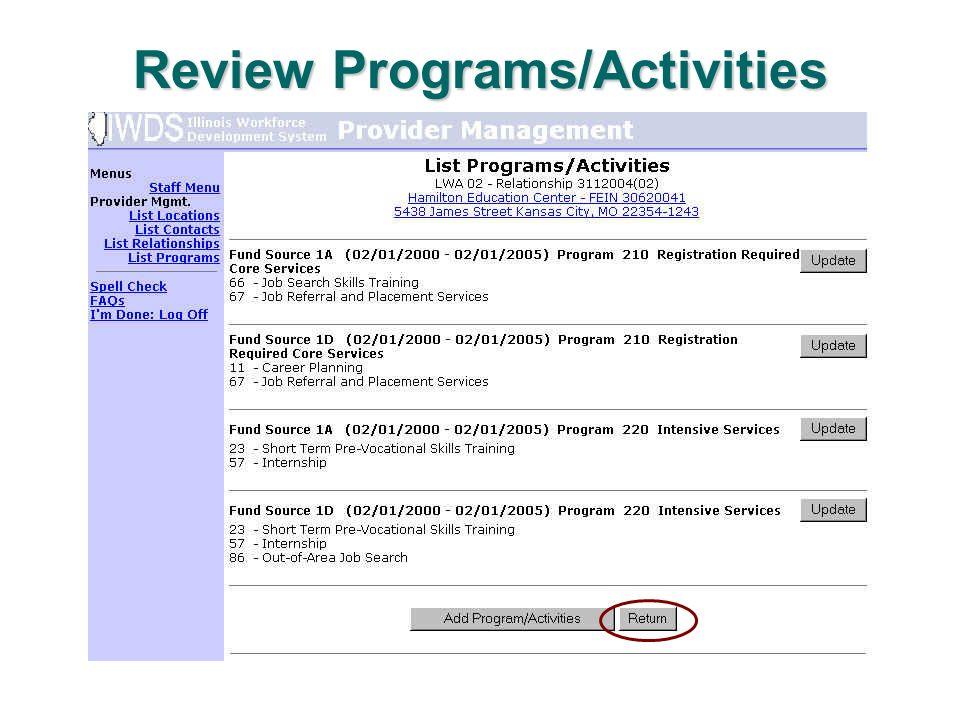 Review Programs/Activities