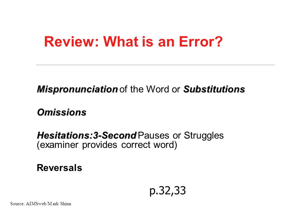 Review: What is an Error? MispronunciationSubstitutions Mispronunciation of the Word or SubstitutionsOmissions Hesitations:3-Second Hesitations:3-Seco