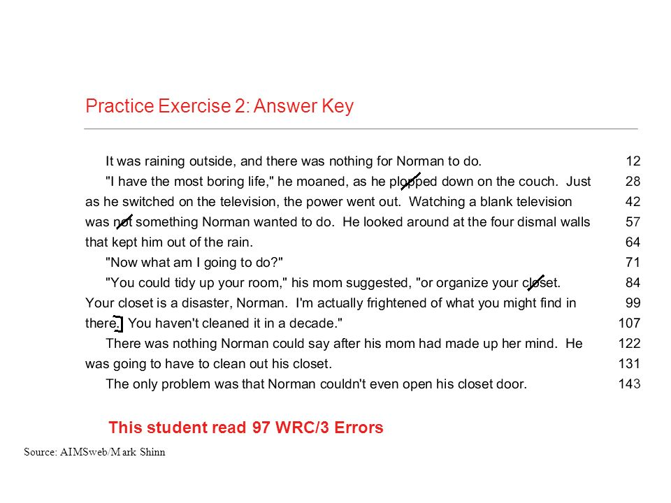 Practice Exercise 2: Answer Key This student read 97 WRC/3 Errors Source: AIMSweb/M ark Shinn