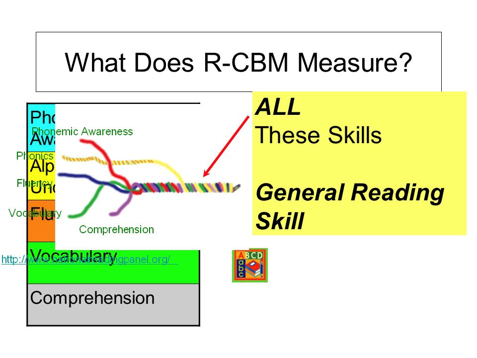 Phonemic Awareness Alphabetic Understanding Fluency Vocabulary Comprehension What Does R-CBM Measure? ALL These Skills General Reading Skill