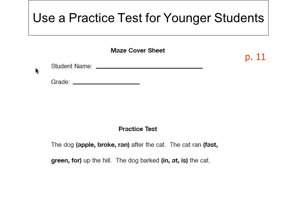Use a Practice Test for Younger Students p. 11