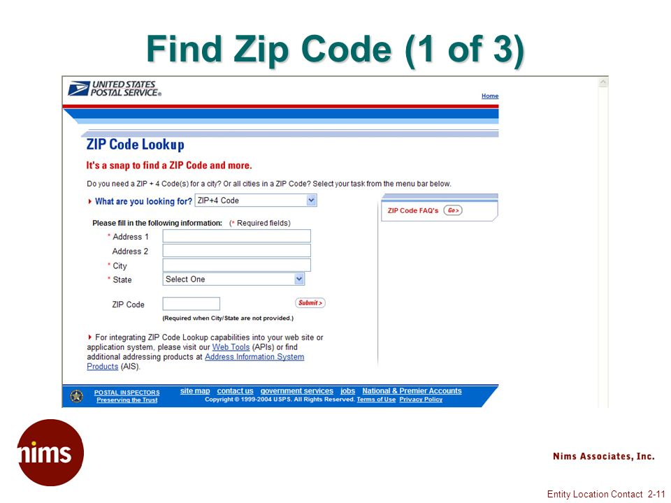 Entity Location Contact 2-11 Find Zip Code (1 of 3)