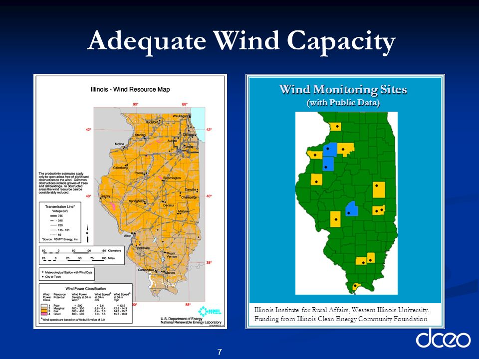 7 Wind Monitoring Sites (with Public Data) Illinois Institute for Rural Affairs, Western Illinois University.