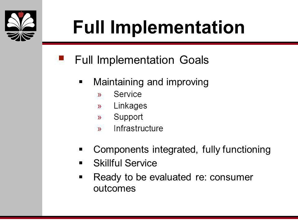 Full Implementation Full Implementation Goals Maintaining and improving »Service »Linkages »Support »Infrastructure Components integrated, fully funct