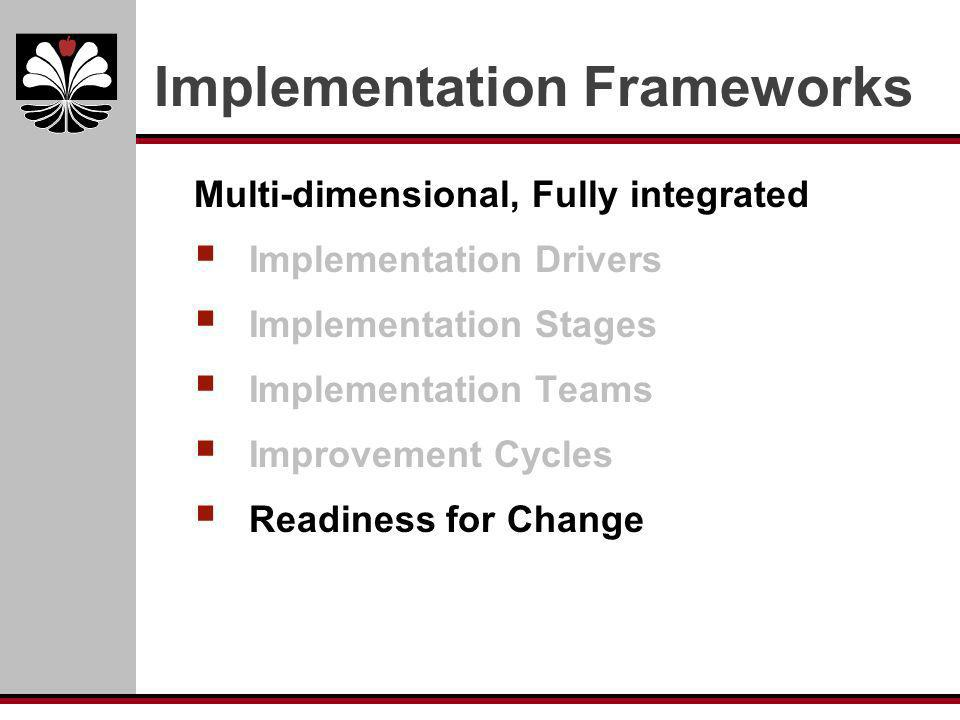 Implementation Frameworks Multi-dimensional, Fully integrated Implementation Drivers Implementation Stages Implementation Teams Improvement Cycles Rea
