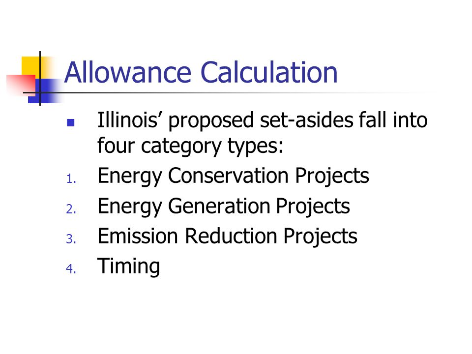 Allowance Calculation Illinois proposed set-asides fall into four category types: 1. Energy Conservation Projects 2. Energy Generation Projects 3. Emi