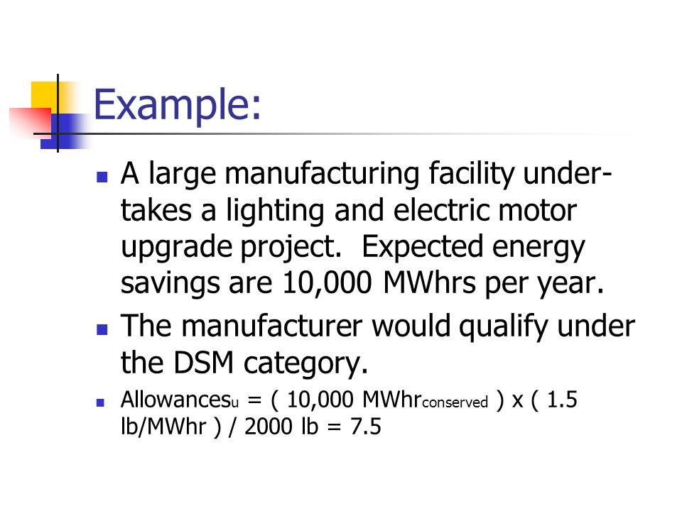 Example: A large manufacturing facility under- takes a lighting and electric motor upgrade project.