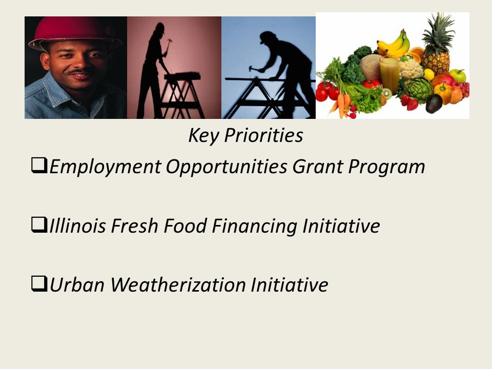Key Priorities Employment Opportunities Grant Program Illinois Fresh Food Financing Initiative Urban Weatherization Initiative