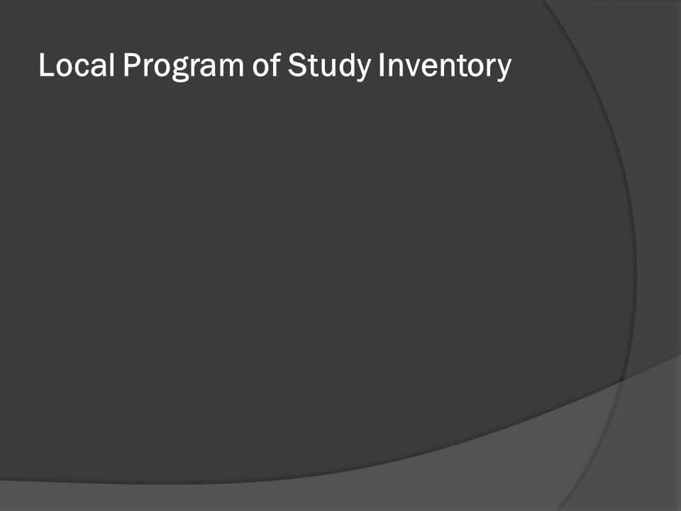 Local Program of Study Inventory
