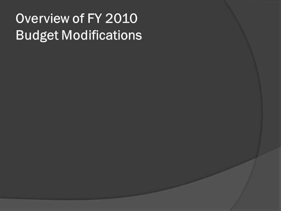 Overview of FY 2010 Budget Modifications