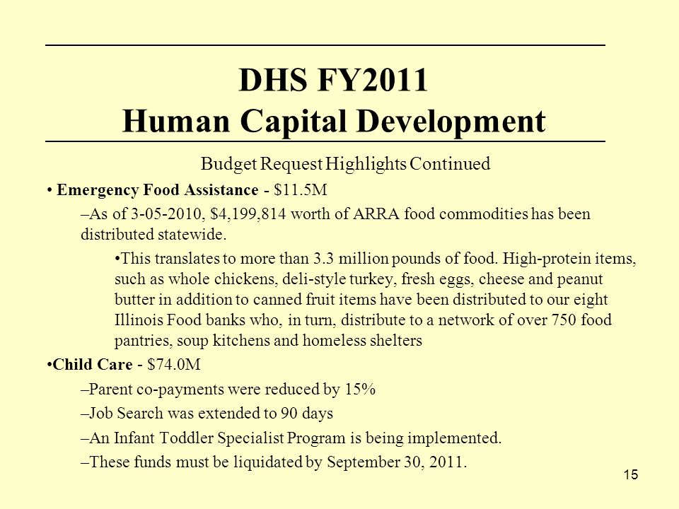 15 DHS FY2011 Human Capital Development Budget Request Highlights Continued Emergency Food Assistance - $11.5M –As of , $4,199,814 worth of ARRA food commodities has been distributed statewide.