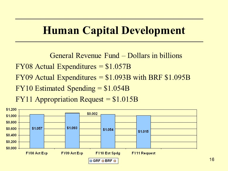 16 Human Capital Development General Revenue Fund – Dollars in billions FY08 Actual Expenditures = $1.057B FY09 Actual Expenditures = $1.093B with BRF $1.095B FY10 Estimated Spending = $1.054B FY11 Appropriation Request = $1.015B
