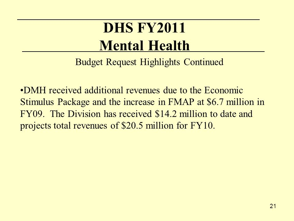 21 DHS FY2011 Mental Health Budget Request Highlights Continued DMH received additional revenues due to the Economic Stimulus Package and the increase in FMAP at $6.7 million in FY09.
