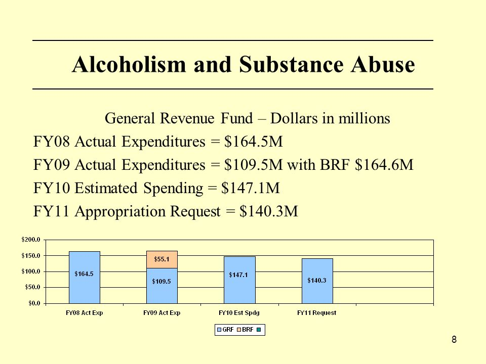 8 Alcoholism and Substance Abuse General Revenue Fund – Dollars in millions FY08 Actual Expenditures = $164.5M FY09 Actual Expenditures = $109.5M with BRF $164.6M FY10 Estimated Spending = $147.1M FY11 Appropriation Request = $140.3M