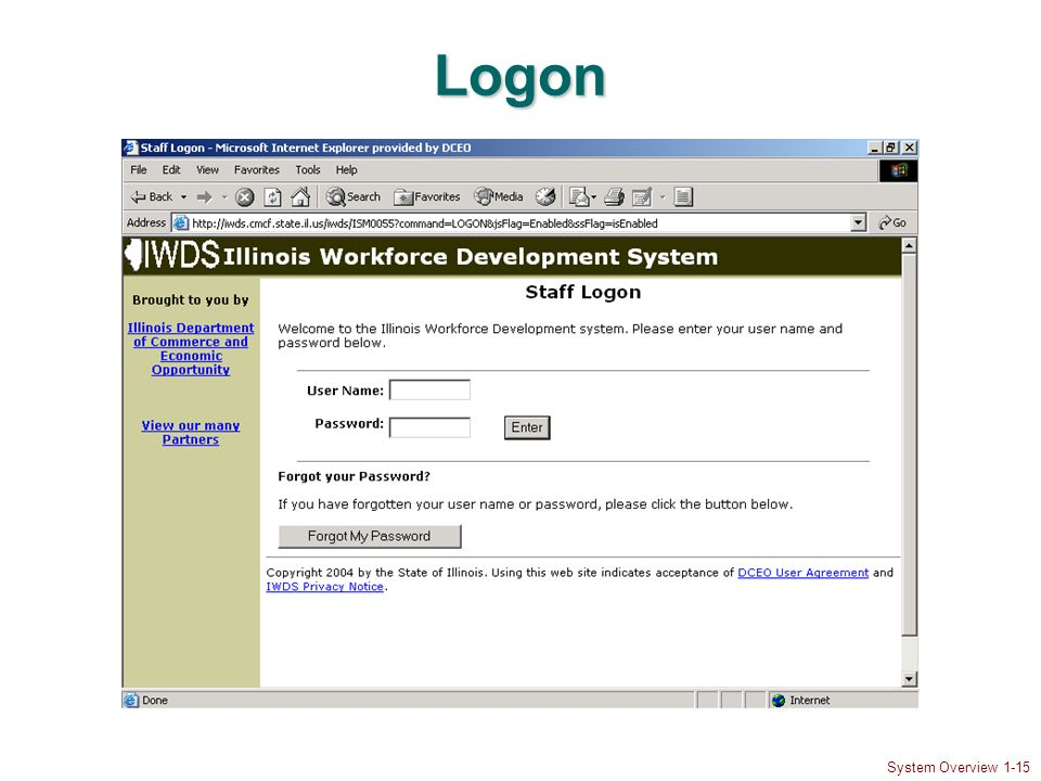 System Overview 1-15 Logon