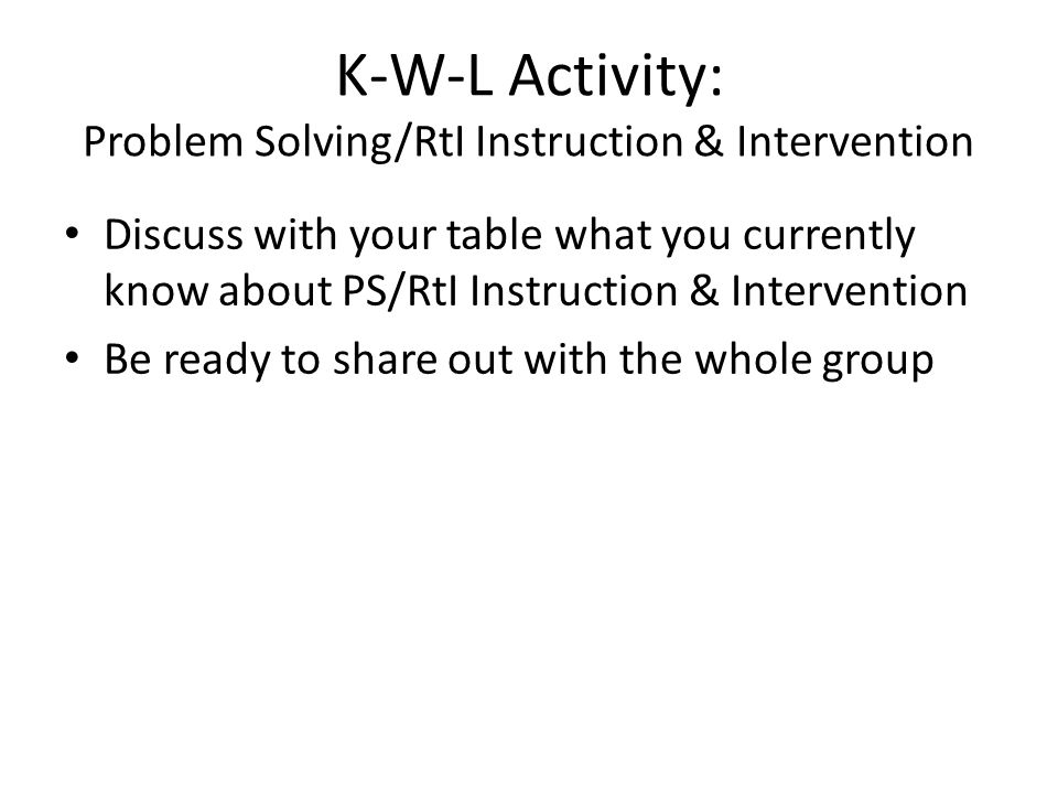 K-W-L Activity: Problem Solving/RtI Instruction & Intervention Discuss with your table what you currently know about PS/RtI Instruction & Intervention Be ready to share out with the whole group