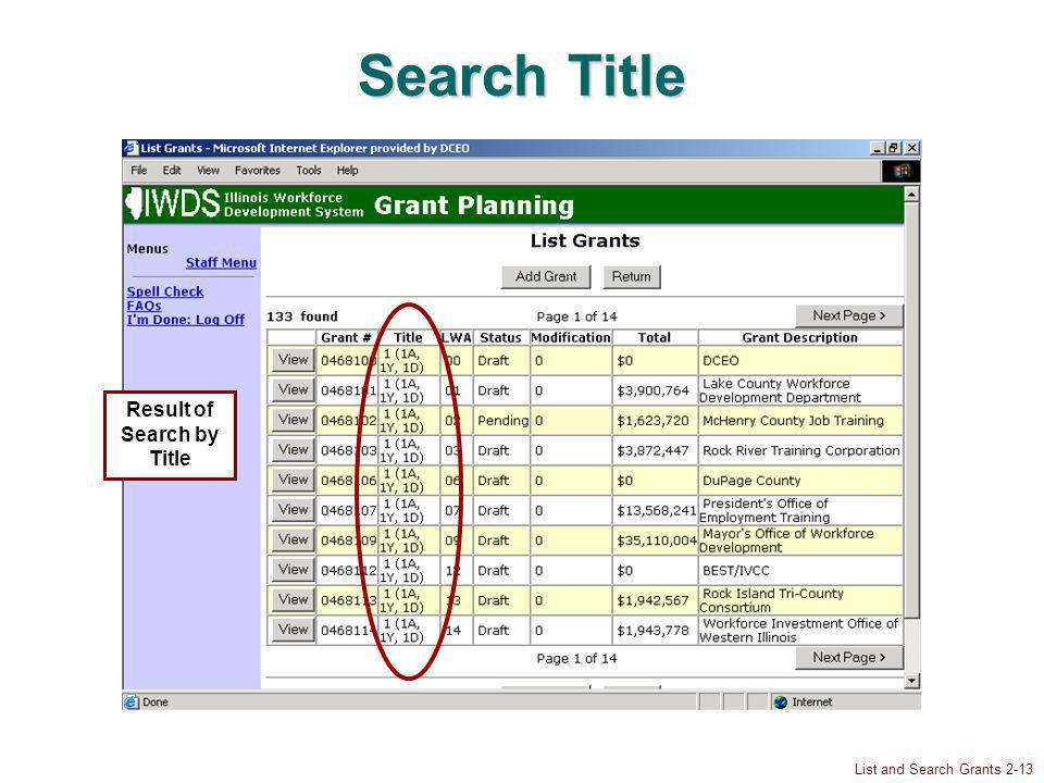 List and Search Grants 2-13 Search Title Result of Search by Title