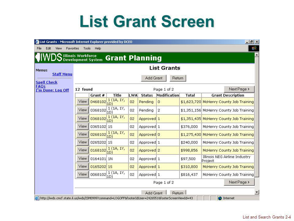 List and Search Grants 2-4 List Grant Screen