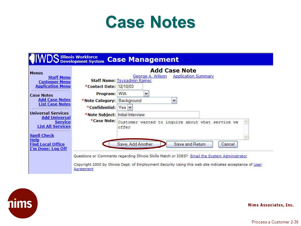 Process a Customer 2-36 Case Notes