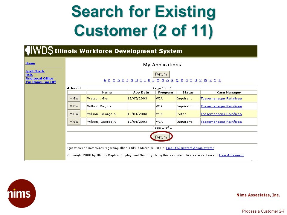 Process a Customer 2-7 Search for Existing Customer (2 of 11)