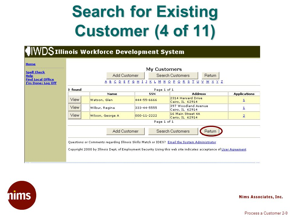 Process a Customer 2-9 Search for Existing Customer (4 of 11)