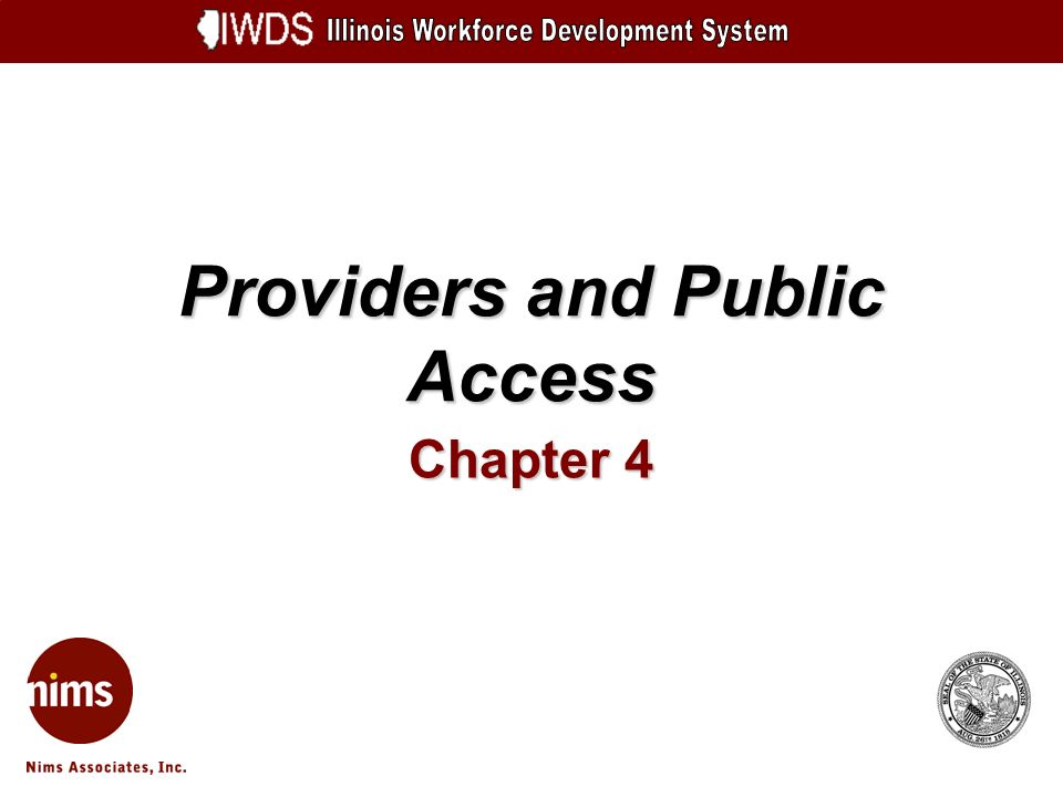 Providers and Public Access Chapter 4