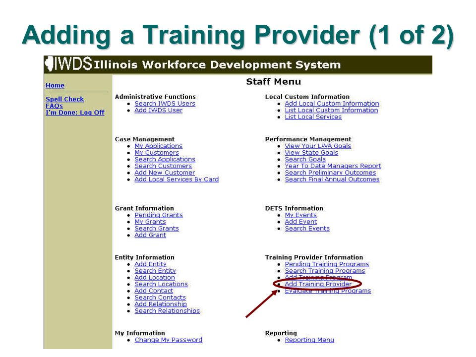 Adding a Training Provider (1 of 2)