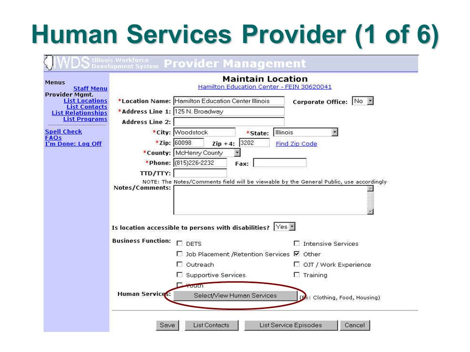 Human Services Provider (1 of 6)