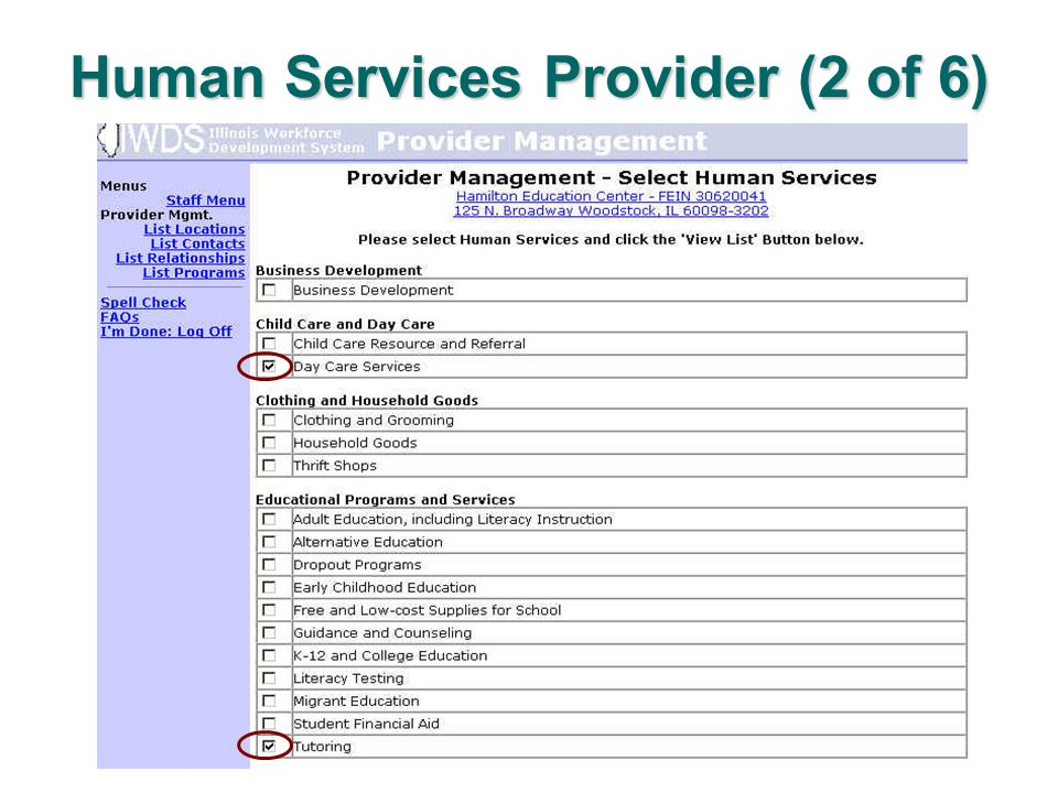 Human Services Provider (2 of 6)